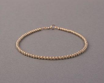 Gold Beaded Bracelet, 2.5mm 14K Gold Filled, Minimalist Jewelry, Layering Bracelet, Birthday Gift, Bridesmaids Gift