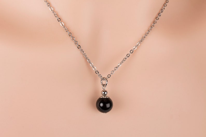 Black Onyx Necklace Gemstone Pendant Necklace Gift for Her image 0