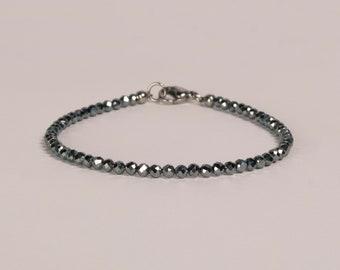 Dainty Terahertz Bracelet, 3mm Beaded Bracelet, Super Sparkly Jewelry, Faceted Beads Bracelet, Silver Gold Or Steel Finish, Birthday Gift