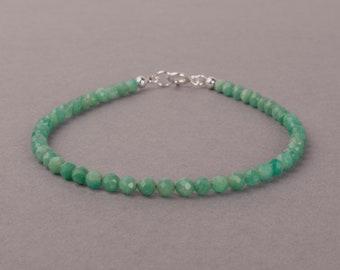 Dainty Amazonite Bracelet, Faceted Gemstone Bracelet, Gift For Her, Bridesmaids Gift, Birthday Gift