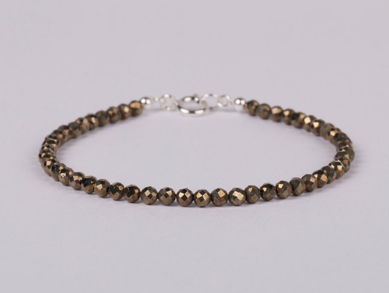 Pyrite Bracelet Minimalist Gemstone Jewelry Beaded Bracelet image 0