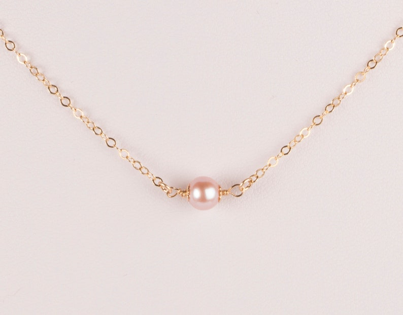 Single Pink Pearl Necklace June Birthstone Necklace Genuine image 0