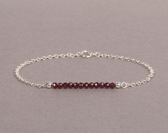 Red Garnet Bar Bracelet, January Birthstone Jewelry, Dainty Gemstone Bracelet, Gift For Her