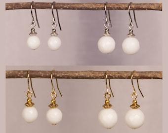 White Jade Earrings, Two Sizes, Gemstone Drop Earrings, Gift For Her, Gift For Wife, Birthday Gift