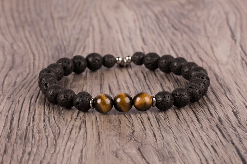Black Lava And Tiger Eye Bracelet 8mm Beaded Bracelet image 0