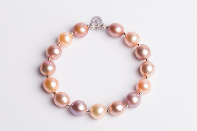 Pink And Peach Tone Freshwater Pearl Bracelet Natural Pearl Bracelet Birthday Gift Gift For Her Bridesmaid Gift Mother/'s Day Gift
