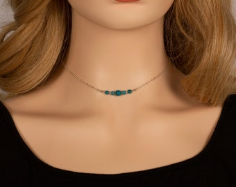 Apatite Necklace, Gemstone Necklace, Choker Necklace, Gift for Her, Bridesmaids Gift, Birthday Gift