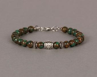 Copper Bronze Malachite Bracelet, 6mm Beaded Gemstone Bracelet, Gift For Him, Gift For Her, Birthday Gift