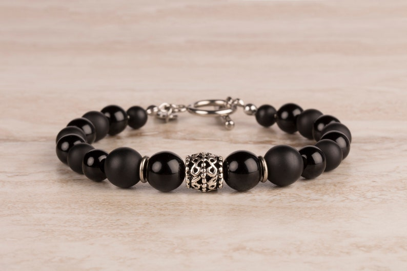 Matte And Shiny Black Onyx Bracelet 8 And 10 mm Beaded image 0