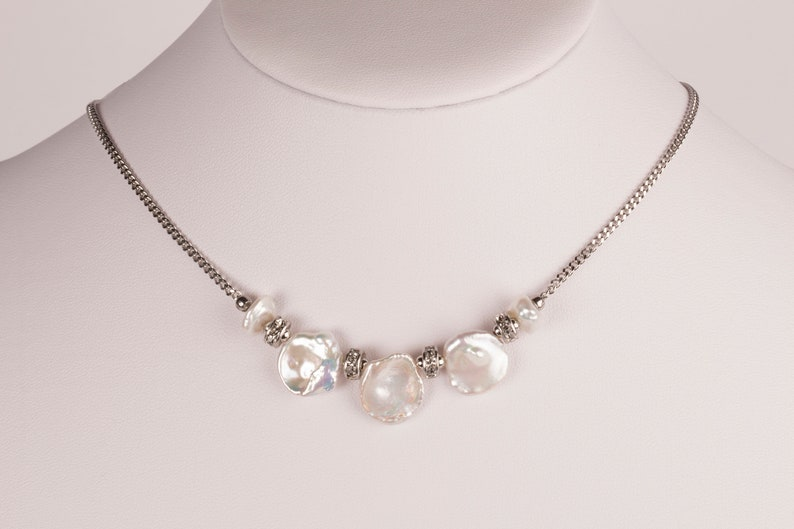 Keshi Pearl Necklace Pearl And Rhinestone Necklace Gift For image 0