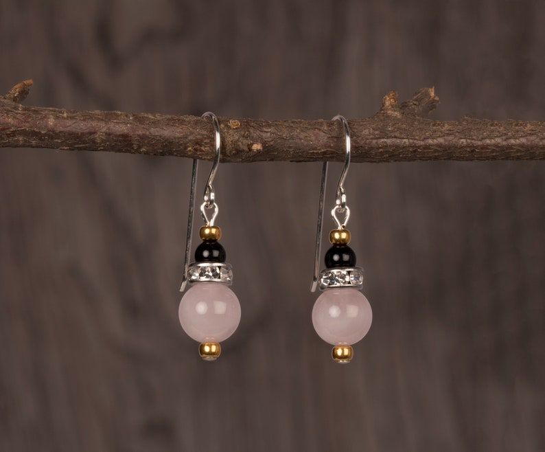 Rose Quartz Black Onyx And Rhinestone Earrings Gemstone image 0