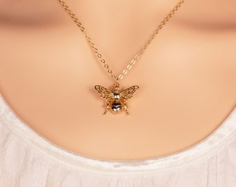 Gold Queen Bee Necklace, Two Bee Sizes, 18K Gold Filled, Save The Bees, Honey Bee Jewelry, Gift For Her, Birthday Gift
