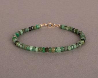 Raw Emerald Bracelet, May Birthstone Bracelet, Gemstone Jewelry, Gift For Her, Gift For Him, Birthday Gift