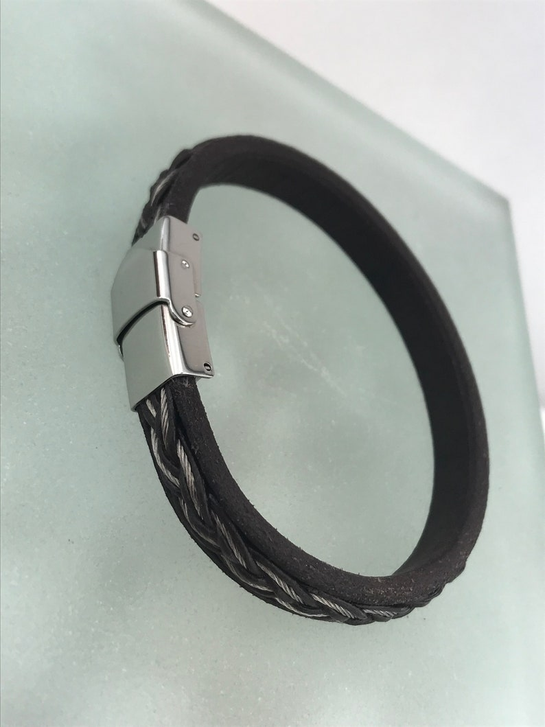 Stainless Steel Bracelets Mens Bracelet Unique Bracelet Mens Jewelry Brown Leather Bracelet Perfect Gift Charm Bracelet Gift For Him