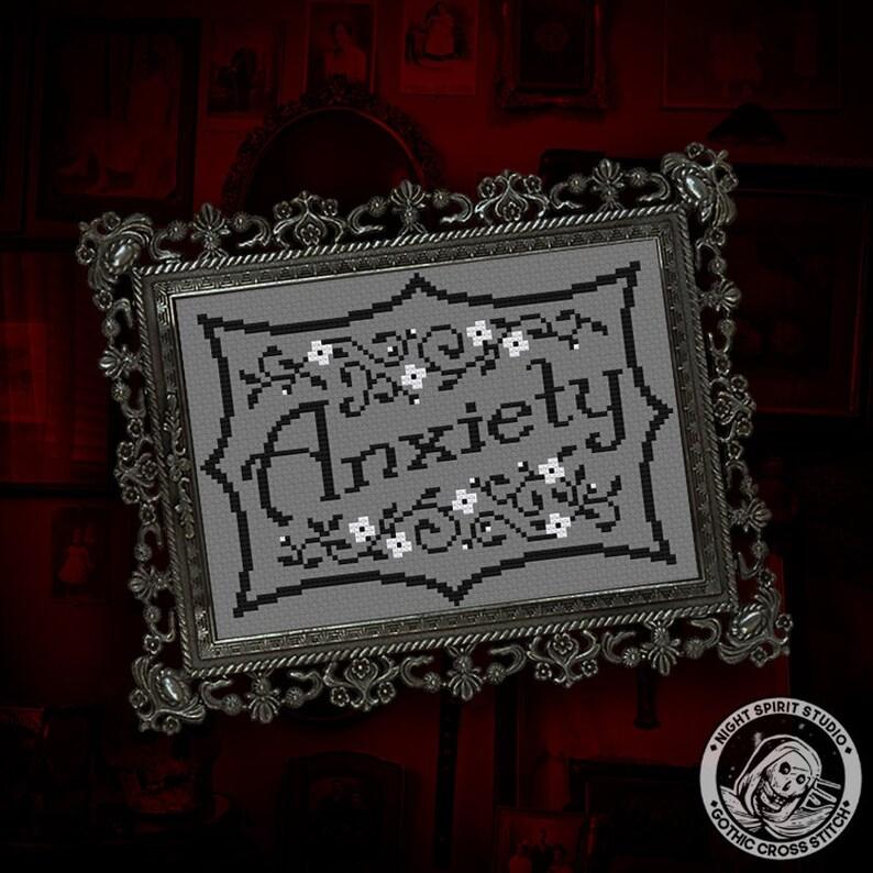 Anxiety  Gothic Cross Stitch Pattern  Art Nouveau Cross image 0