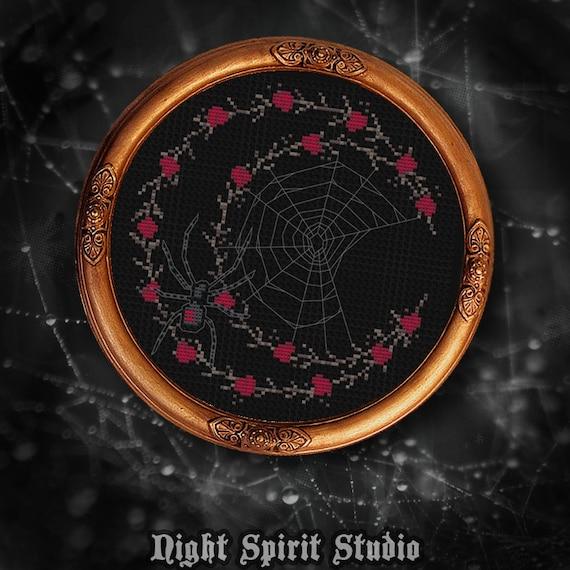 Black Widow Spider Web Floral Moon Gothic Cross Stitch Etsy