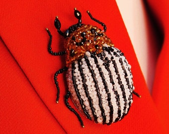 Insect Pin Bug Brooch Scarab Brooch Dung Beetle Brooch Bug Jewelry Beaded insect Insect Brooch Cockroach Brooch Embroidered Insect