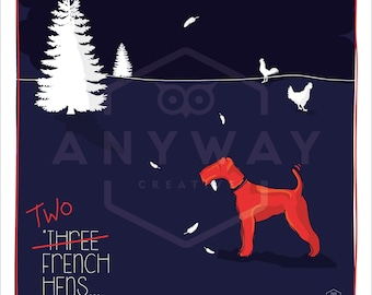 Two French hens -  dog print
