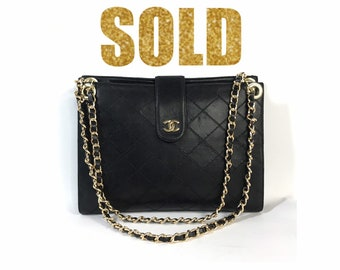 b1468ebdfafd66 VINTAGE CHANEL COCO Mark Bicolore Clutch bag lambskin Shoulder Bag Double  strap Chain