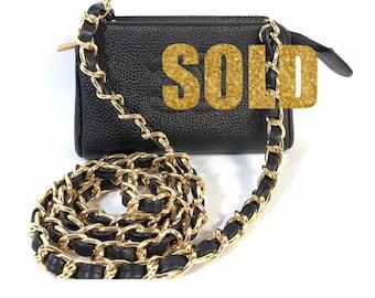 61b516fdabc VINTAGE CHANEL Caviar Skin Leather Logo pochette mini waist bag pouch  Crossbody BAG