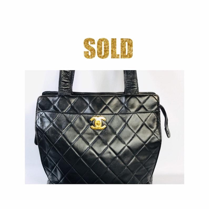 1f967703a84d VINTAGE CHANEL Matelasse BLACK Lambskin Shoulder Bag Gold | Etsy