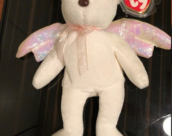 39539ceaaeb TY HALO Angel Bear Beanie Baby Rare Brown Nose Great condition