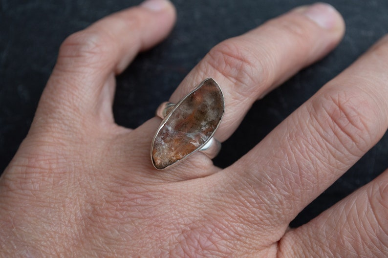 sunstone jewelry boho ring sterling silver ring statement ring hand made jewelry Rough sunstone ring unique ring hand formed  