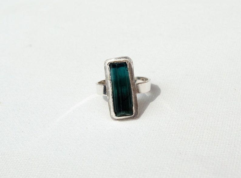 raw gemstone bohemian ring sterling silver rough tourmaline ring green gemstone jewelry | Hand formed green tourmaline gemstone ring