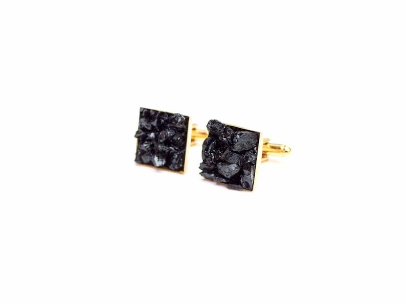 cuff links | unique gift Unisex rough gem rough gemstones black tourmaline tourmaline gemstone cuff links suit accessories