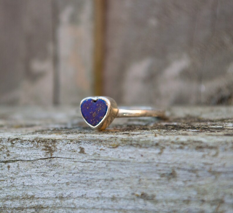 heart ring hand formed ring sterling silver ring rough heart ring rough gemstone ring blue ring Lapis Lazuli ring unique ring