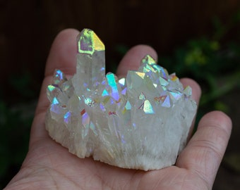 Angel aura quartz   rainbow aura quartz   colorful crystal   bohemian crystal   crystal cluster   clear quartz   rare crystal   unique  