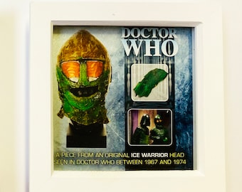 7x7 Shadow Box Doctor Who - Screen Used Ice Warrior Scale from Head