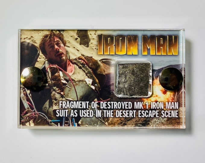 V2 of our Mini Display - Iron Man Production Used Destroyed Mk1 Suit Fragment