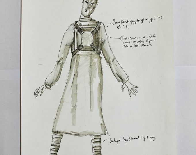 Doctor Who Original Costume Hand Drawn Design Drawing for Pre Cyberman, Topknot/Patient