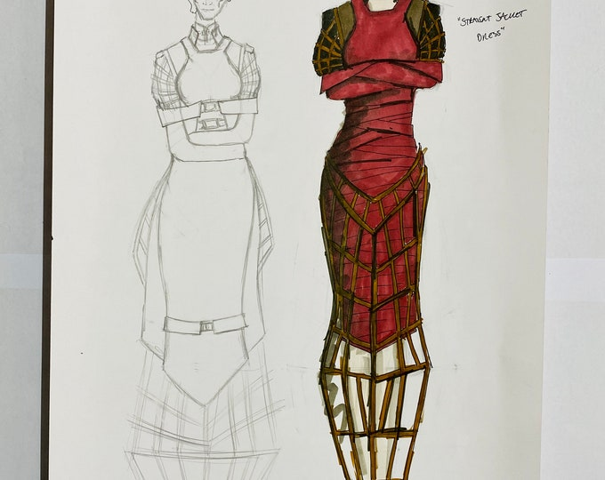 Missy / Michelle Gomez - A3 Original Doctor Who Production Art - Costume Design with COA