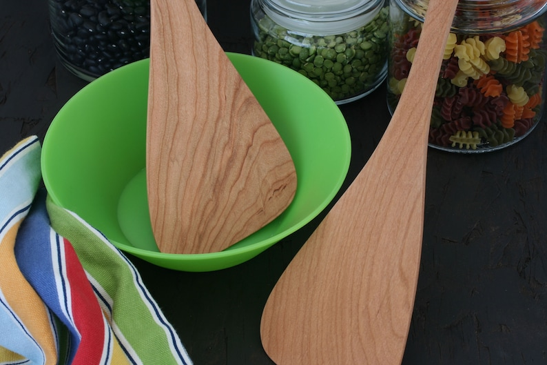 Wok spatula with a long handle available for chefs and cooks that are left or right handed Cherry wood cooking tool.