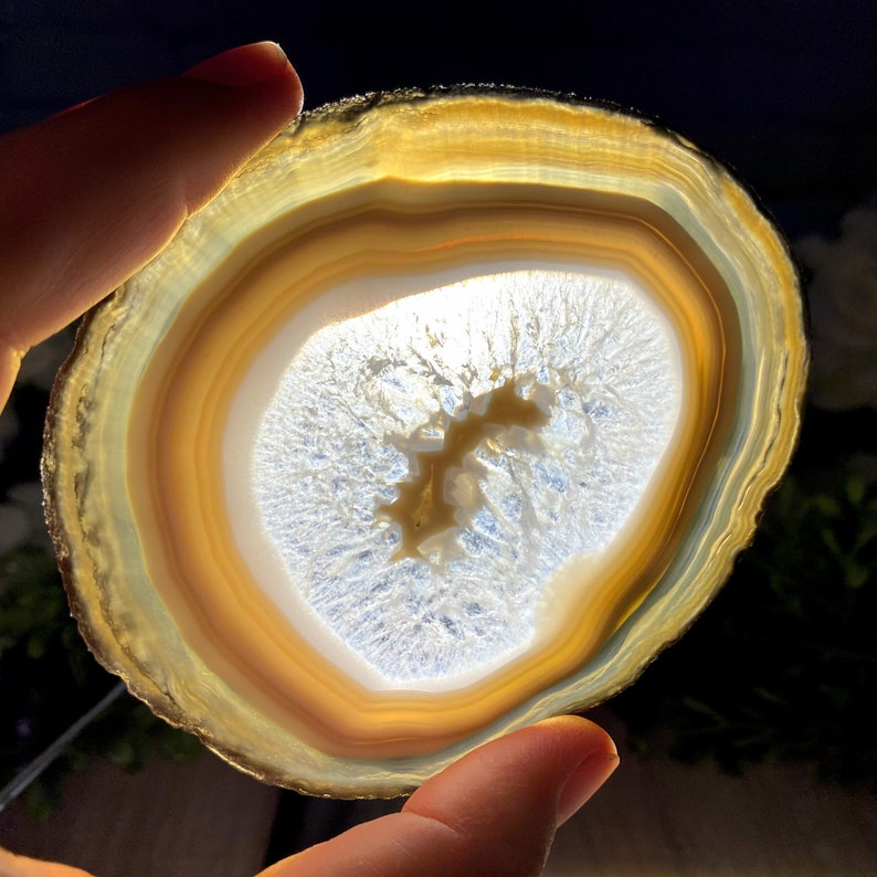 Natural Agate Coasters 4-piece set #5205 by Brazil Gems generous sizes 3.5 to 4.5 each