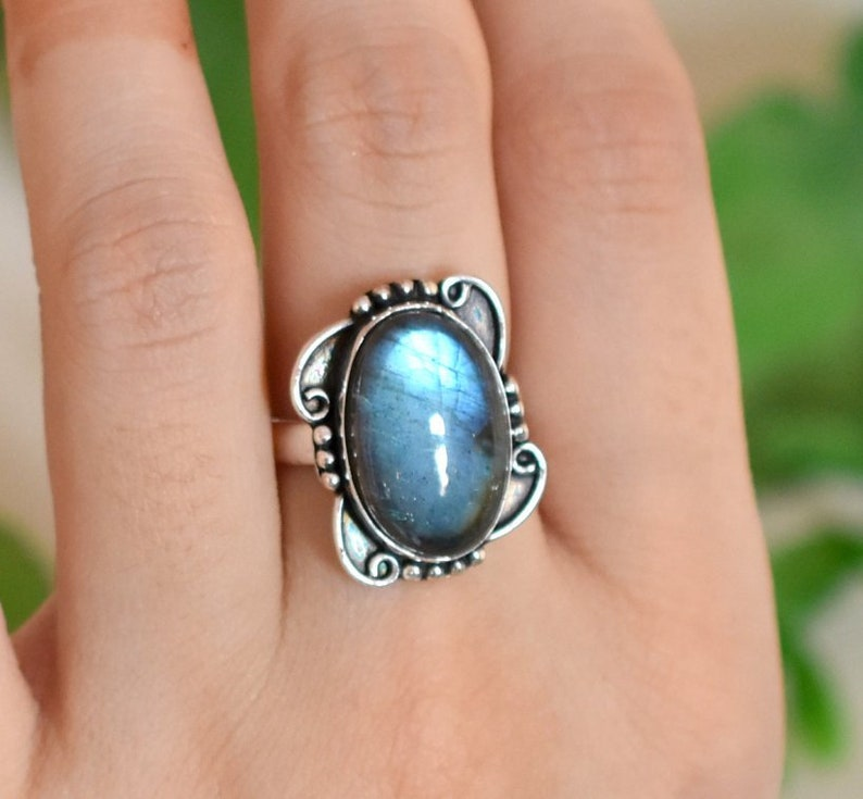 Statement Ring Size 5.5 US Natural Labradorite Ring Oval Gemstone jewelry Bridal Ring Ethnic Ring Sterling silver Engagement Ring 212