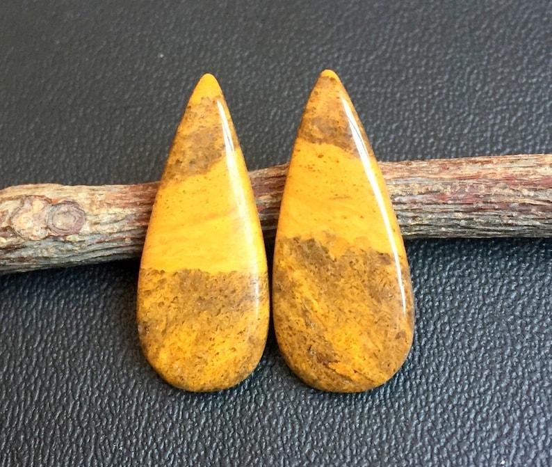Beautiful Gemstone Earring pear pear Shape Studs Earring 60014 Natural Yellow Jasper Pair for Earring 23x15mm