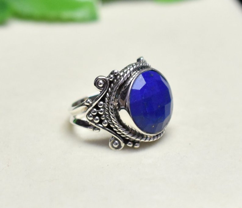 925 Sterliing Silver Ring Briolette Ring Stackable Rings Vintage Ring Christmas Sale Boho Ring Lapis Lazuli Jewelry Lapis Lazuli Ring