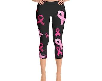 f75ee6b9586c91 Breast Cancer Awareness Capri Leggings Leggings Pink Ribbon Yoga Pants  Gifts Survivo Inspirational Cancer Gift for Survivors