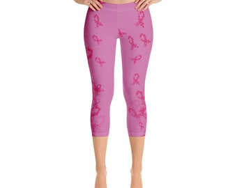 beaa55fa74c164 Breast Cancer Awareness Capri Leggings Pink Ribbon Yoga Pants Cancer  Survivor Inspirational Cancer Gift for Survivors Capri Leggings