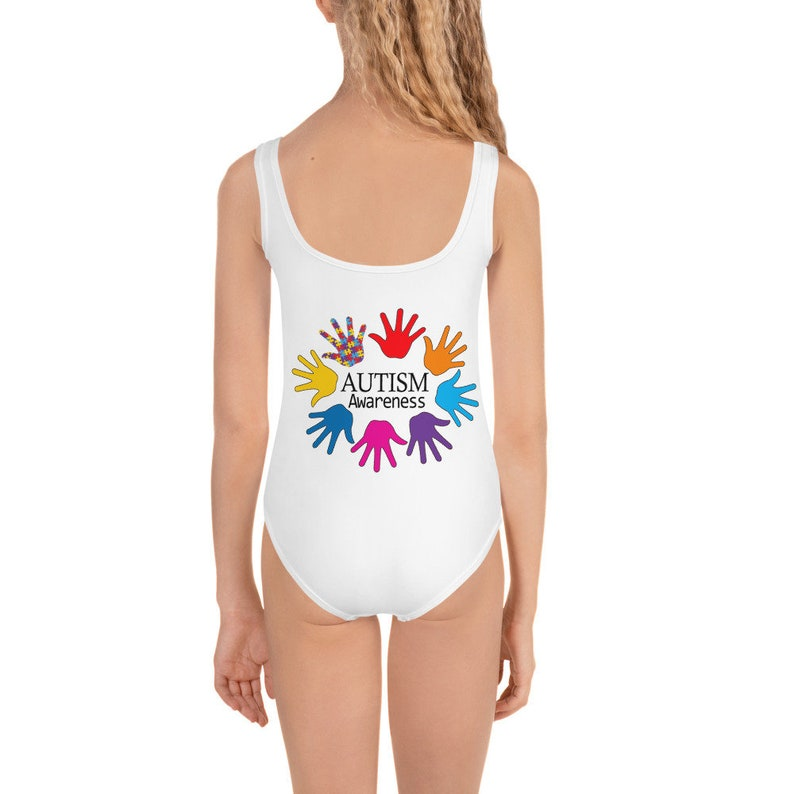 Autism Awareness Kids Swimsuit All-Over Print Girls Autism Swimsuit Autism Mom Bathing Suit For Kids Size 2T to 7 Autism Acceptance Girl