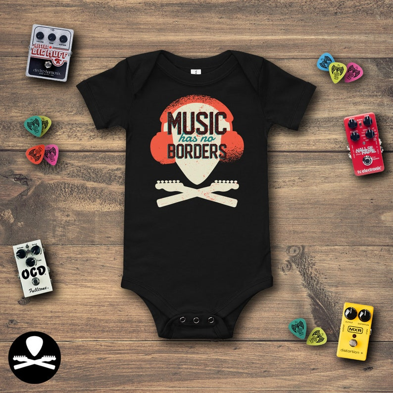 Music Has No Borders  Telecaster Edition Baby Bodysuit image 0