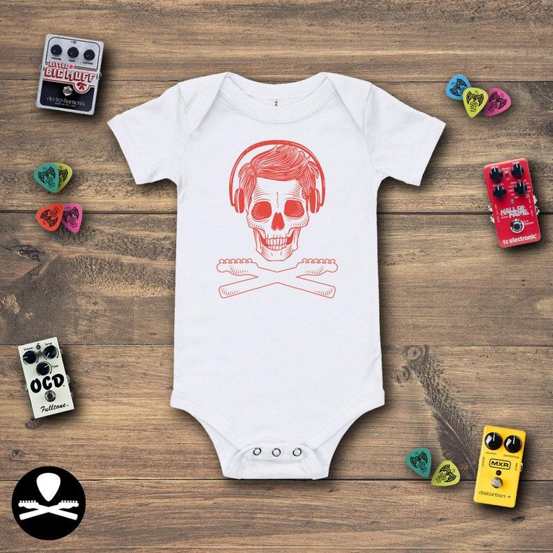 Skull Face with Headphones Crossbones Baby Bodysuit image 0