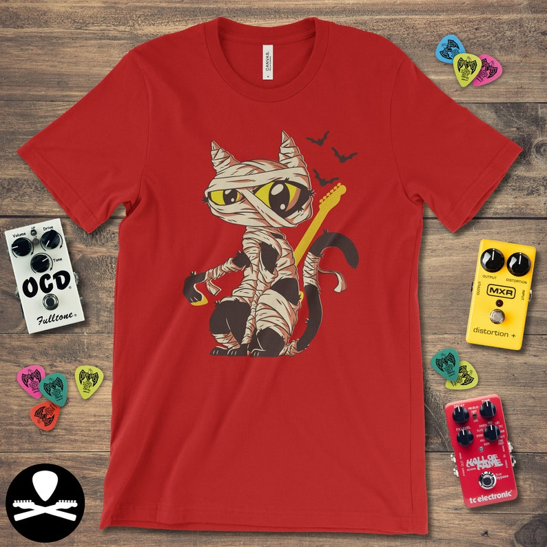 Halloween Mummified Cat  Telecaster Edition T-Shirt image 0