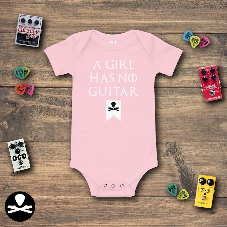 A Girl Has No Guitar Baby Bodysuit image 0
