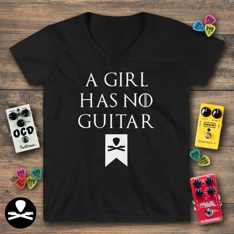A Girl Has No Guitar Women's Casual V-Neck Shirt image 0