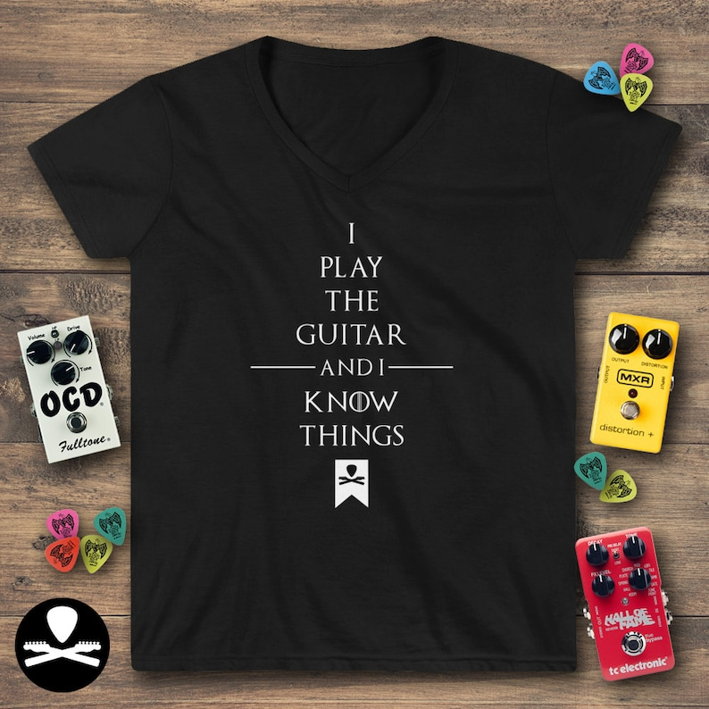 I Play The Guitar And I Know Things Women's Casual V-Neck image 0