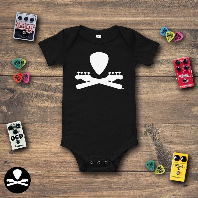 Basic Dimbled Bass Guitar Crossbones Baby Bodysuit image 0